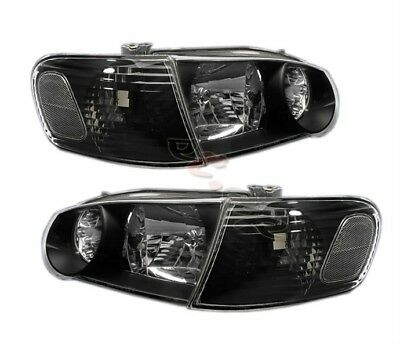 01-02 Toyota Corolla Replacement Jdm Headlights Black+ Corner Clear Signal Lamp