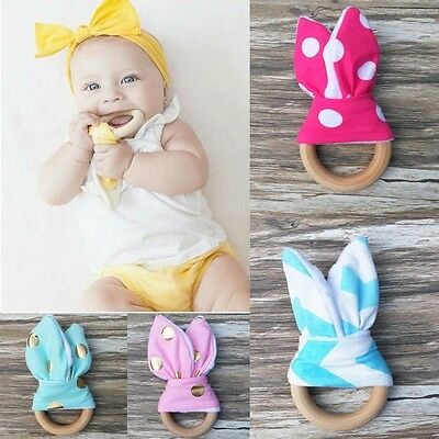 Natural Rabbit Ear Sensory Toy Wooden Chewie Teether Baby Teething Ring