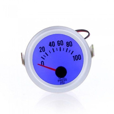 "Douself Oil Pressure Meter Gauge with Sensor for Auto Car 2"" 52mm 0~100PSI Blue"
