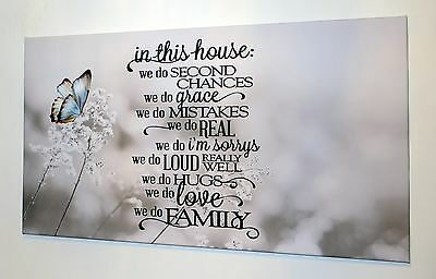 """Family Butterfly Love Verse Wall Art Canvas Picture 18"""" X 32""""   Ready To Hang"""