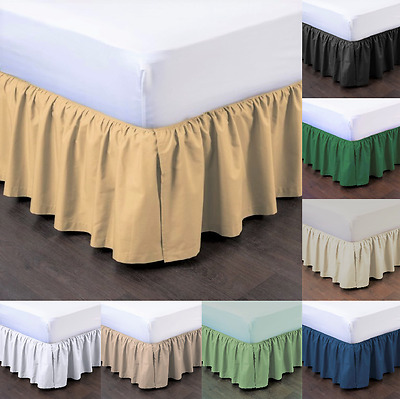 """1Pc Bedding Dressing Bed Pleated Skirt With Open Corners 14"""" Inch Drop Size Full"""
