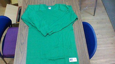 vintage RUSSELL ATHLETIC CLOTH COTTON FOOTBALL JERSEY USA MADE SIZE LARGE GREEN