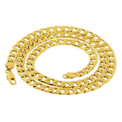 10mm 24 Inches 18K Gold Plated Men's Necklace Cuban Curb Chain Jewelry
