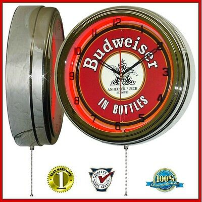 "Budweiser In Bottles Nostalgic Sign 16"" Red Neon Lighted Wall Clock Chrome"