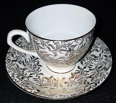 VINTAGE Gold Crown English Fine Bone China teacup & saucer, numbered in gold
