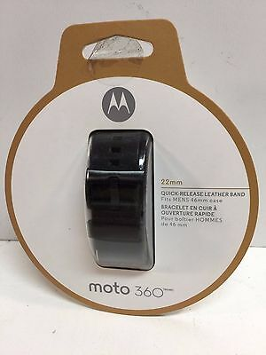 Genuine Motorola Moto 360 Smart Watch Band 2nd Gen 22mm Leather (Black)
