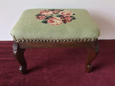 "Vtg Needlepoint Covered Wood Foot Stool Pink Roses Floral On Green Field 10"" H"