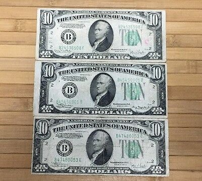 Lot of 3 1934 $10 Federal Reserve Notes Off Center Error Cut