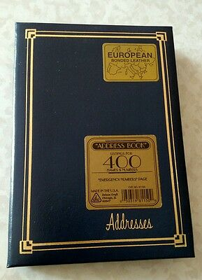DeLuxe Leather Desk Address Book European Bonded Leather Gold Accent Vtg 80s NOS