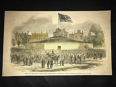 Democratic Convention Tent Chicago 1864 Hand Colored Engraving Scarce