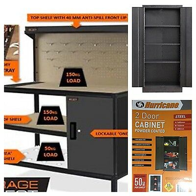 "Delivered & assembled ""DOUBLE DEAL"" Premium Garage Work Bench & Metal Cabinet"