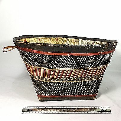 Large Contemporary Traditional Style Tribal Basket From Mali, Africa - Leather