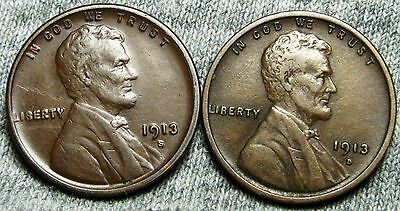 1913-S + 1913-D Lincoln Wheat Cents --- STUNNING LOT --- #N855