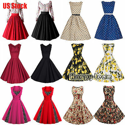 50'S 60'S ROCKABILLY DRESS Vintage Swing Pinup Retro Housewife Prom Party Dress