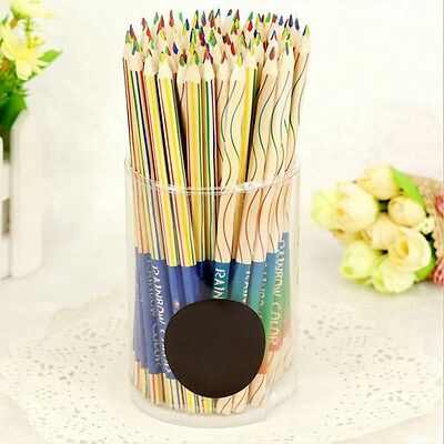 10Pcs Multicolor Craft Drawing 4 In 1 Colored Rainbow Color Pencils Painting
