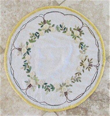 "Vintage Mission Arts & Crafts Embroidered Linen Round Table Cover 24.5"" Diameter"
