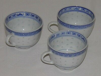 3 Vintage Blue & White Chinese Porcelain Rice Pattern Tea Cups