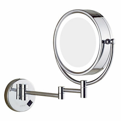 Chrome Wall Mount LED Lighted Makeup Mirror 10X 7X Magnification Hardwired/Plug