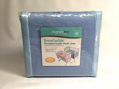 BreathableBaby Breathable Bumper for Portable and Cradle Cribs, Blue