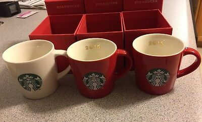 Starbucks 2015 Cups 3 ounces Lot of 3 Red and White New in Boxes • $9.00