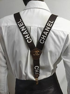 Authentic Vintage Chanel CC Logo Brown & White Suspenders RARE
