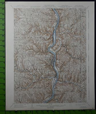 Steubenville Wellsville West Virginia Antique Topographic Map 1938 16x20 Inches