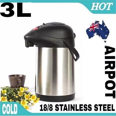 Airpot 18/8 Stainless Steel Vacuum Flask Air Pump Pot Hot & Cold 3 L