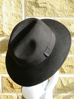 1940s Inspired Black 100% Wool Fedora Large Trilby Forties Gangster Hat sz XL