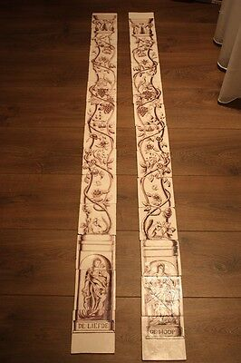 Two Dutch tile pillars/columns from the mid18th century,