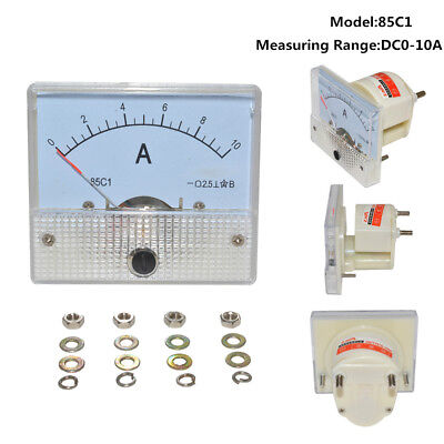 White DC 10A GB/T7676-98 Analog Panel AMP Current Meter Ammeter Gauge 85C1 0-10A