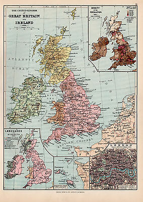Map Of The Great Britain and Ireland 1894 Original Antique