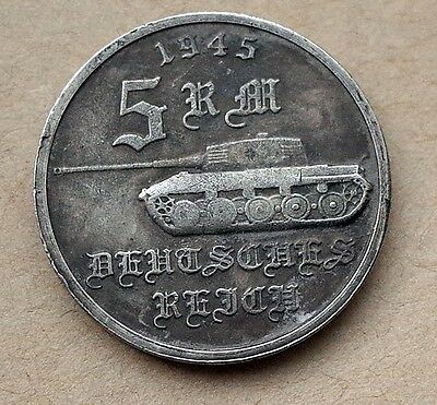 ADOLF HITLER 5 REICHSMARK 1945 TANK 24mm GERMAN COIN THIRD REICH WW2