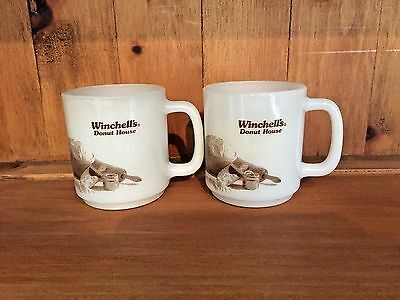 Vintage 2 Winchell's Donut House Restaurant Milk Glass Coffee Cups #78