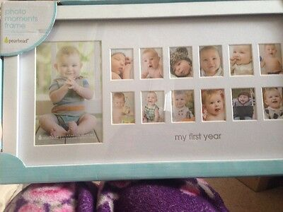 Pearhead Moments Keepsake Photo Baby Frame, My First Year, White