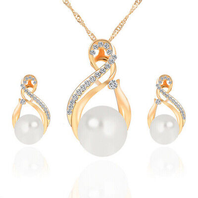 Round Pearl Crystal 18K Yellow Gold Plated Earring Necklace Women Jewelry Set