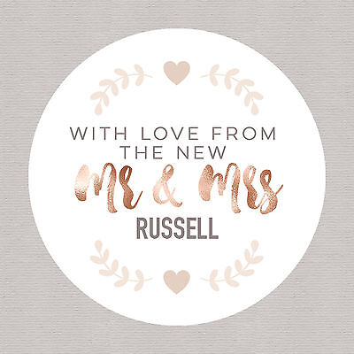 Personalised Mr & Mrs Wedding Favour Candy Buffet Stickers Rose Gold & Peach FS3