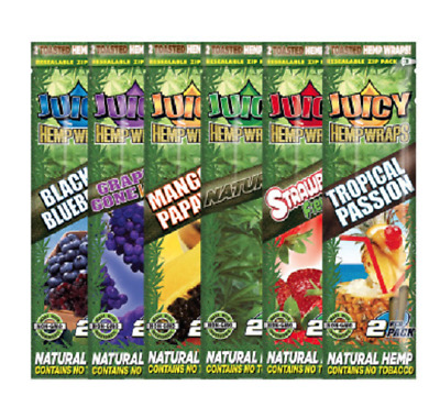 2 x Juicy Wraps Rolling Paper Cigar Cigarette Flavoured Tip Tobacco Roll Mull