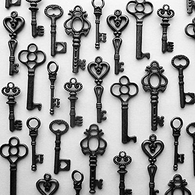 LOT OF 48 Vintage Style ANTIQUE SKELETON FURNITURE CABINET OLD LOCK KEYS- Black