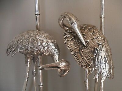 Large Silver Plated Heron Table Lamp, Maison Jansen, Mid Century Antique