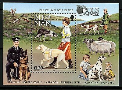 Isle Of Man, Hoja Bloque, Dogs At Work, 1996