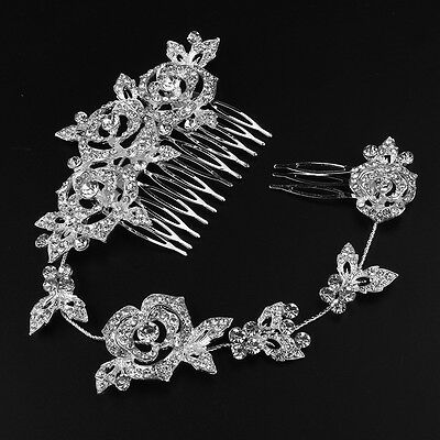 Women's Bridal Wedding Crystal Rhinestones Rose Pearl Decor Hair Comb Clip Pin