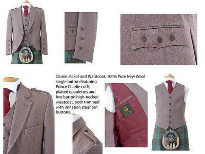 100% Wool Mens Clunie Kilt Jacket and Waistcoat (Russet) - Made in Scotland