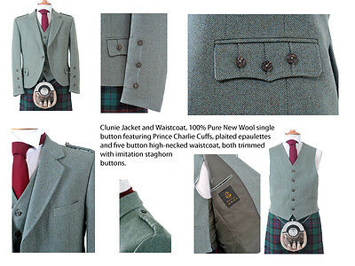 Clunie Jacket and Waistcoat (Moss) - Made in Scotland/100% Wool /Kilt Jacket