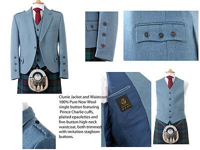 100% Wool Clunie Jacket and Waistcoat (Lovat) Kilt Jacket - Made in Scotland