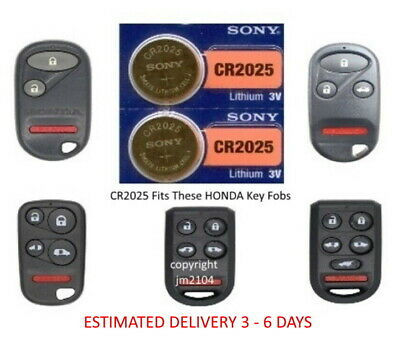 2 Pk Remote Key Fob Sony Cr2025 Battery Fits Honda Accord Odyssey Pilot Others