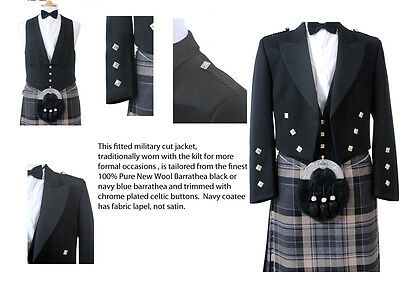 100% Wool Mens Prince Charlie Jacket and Waistcoat (Black) - Made in Scotland