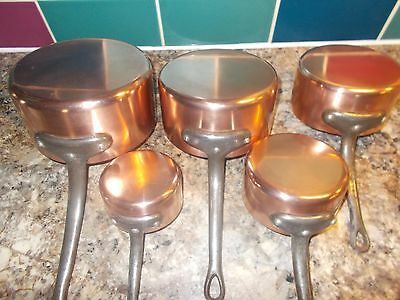 Lovely French Vintage Set 5 Lined Stamped Copper Pans Ref T11/117