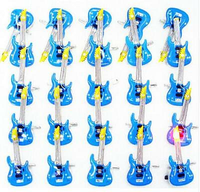 Wholesale Lot  Guitar  LED Flashing Light Up Badge/Brooch Pins X-36
