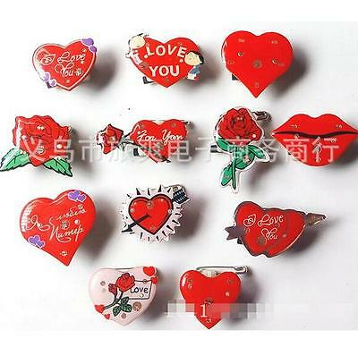 Lot Roses Valentine's Day Decoration LED Flashing Light Up Badge/Brooch Pins