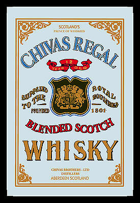 Chivas Shelf Scotch Whisky Nostalgia Bar Mirror 8 11/16x12 5/8in